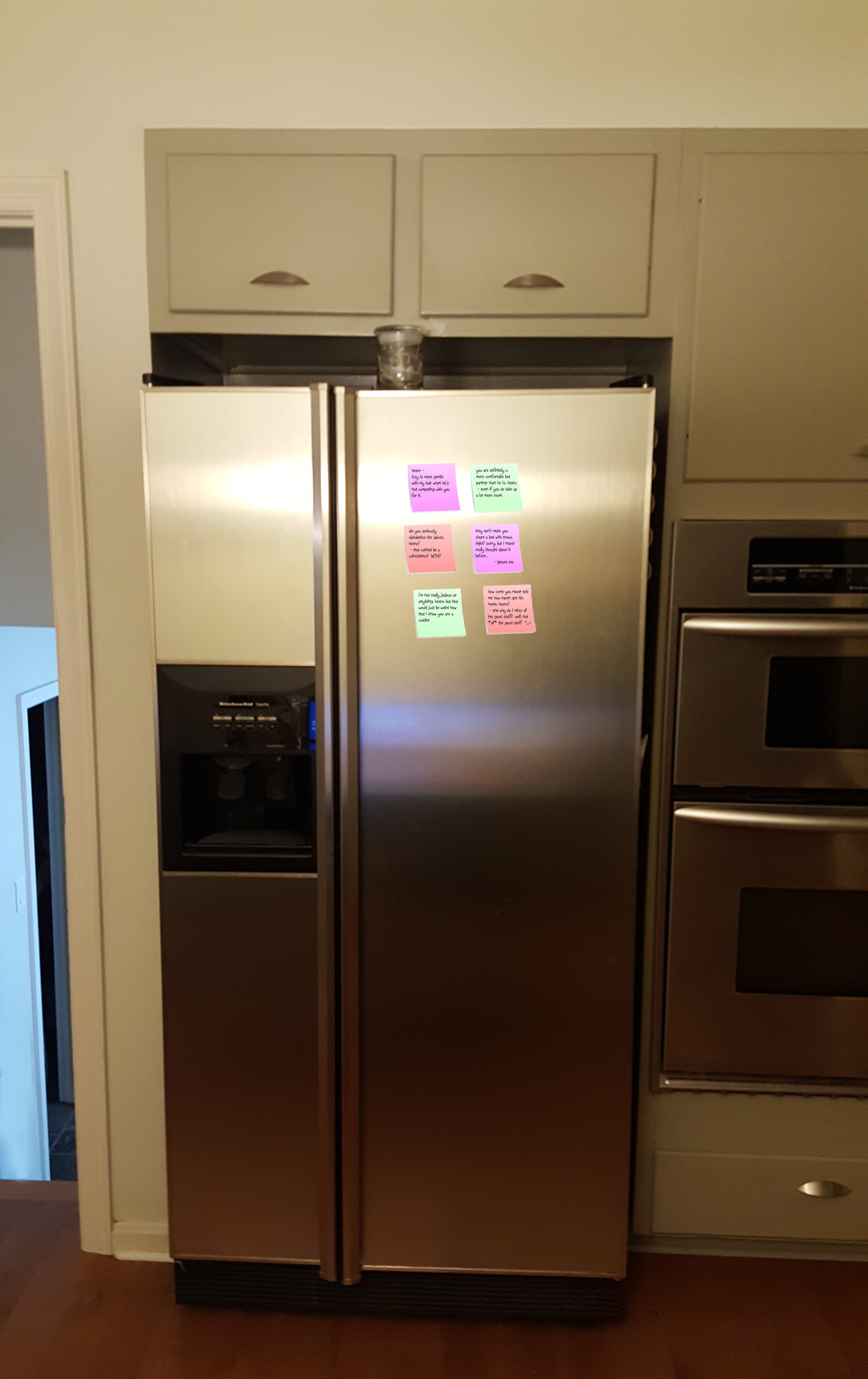 refrigerator with duo's notes on it