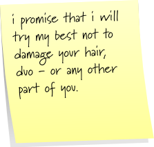 i promise that i will try my best not to damage you hair, duo - or any other part of you.