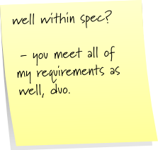 well within spec?  - you meets all of my requirements as well, duo.