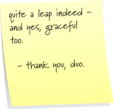 quite a leap indeed - and yes, graceful too.   - thank you, duo.